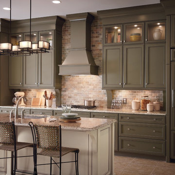 KraftMaid: Maple Cabinetry in Sage and Mushroom with Cocoa Glaze