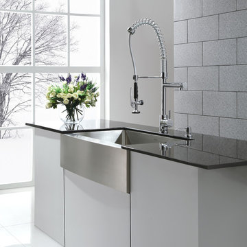 Kraus KHF200-36 farmhouse kitchen sink and KPF1602 commercial-style faucet