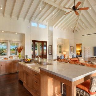 Tropical Open Concept Kitchen Photos   Open Concept Kitchen   Tropical  L Shaped Dark Wood