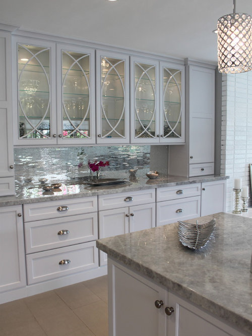 Mirror tile backsplash houzz for Kitchen backsplash images on houzz