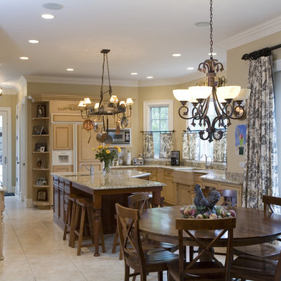 Kitchen - traditional kitchen idea in Chicago with a farmhouse sink, light wood cabinets and paneled appliances