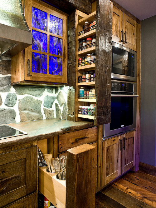 Rustic KitchenDiner Ideas Inspiration with Stone Slab Splashback