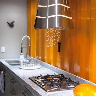 他の地域の小さいインダストリアルスタイルのおしゃれなキッチン (ダブルシンク、シェーカースタイル扉のキャビネット、グレーのキャビネット、御影石カウンター、オレンジのキッチンパネル、メタルタイルのキッチンパネル、シルバーの調理設備の、淡色無垢フローリング、アイランドなし) の写真