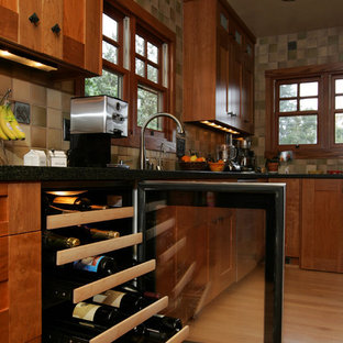 La Crescenta Asian Infused Craftsman Kitchen Remodel with wine cooler