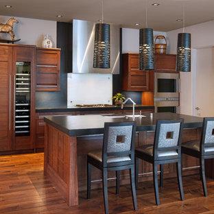 Design ideas for a world-inspired kitchen in San Diego with a submerged sink, dark wood cabinets, white splashback, glass sheet splashback and stainless steel appliances.