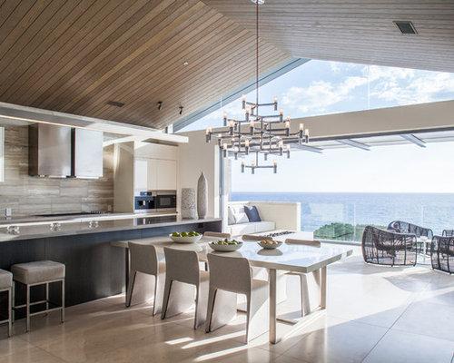 cuisine contemporaine avec un sol en travertin photos et id es d co de cuisines. Black Bedroom Furniture Sets. Home Design Ideas