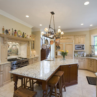 Traditional kitchen pictures - Example of a classic kitchen design in Chicago with an integrated sink, recessed-panel cabinets, beige cabinets, beige backsplash and paneled appliances