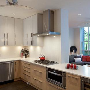 Ispirazione per una cucina design con ante lisce e elettrodomestici in acciaio inossidabile
