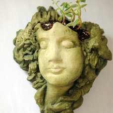 Eclectic Kitchen lady head planter