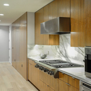 Inspiration for a large contemporary galley separate kitchen in Los Angeles with an undermount sink, shaker cabinets, light wood cabinets, limestone benchtops, multi-coloured splashback, ceramic splashback, stainless steel appliances, light hardwood floors and no island.