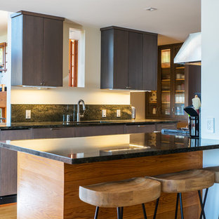 Design ideas for a contemporary kitchen in Boston with a drop-in sink, flat-panel cabinets, dark wood cabinets, granite benchtops, green splashback, stainless steel appliances, light hardwood floors, no island and green benchtop.