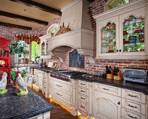 Mediterranean Kitchen Remodeling   Example Of A Tuscan Kitchen Design In  Orange County With A Farmhouse