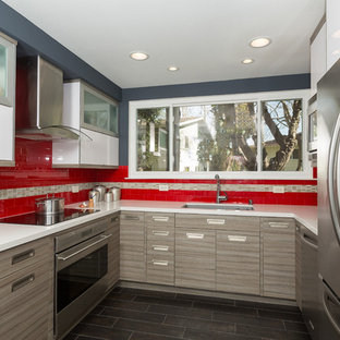 Design ideas for a small modern galley eat-in kitchen in Orange County with an undermount sink, flat-panel cabinets, grey cabinets, quartz benchtops, red splashback, glass tile splashback, stainless steel appliances and no island.