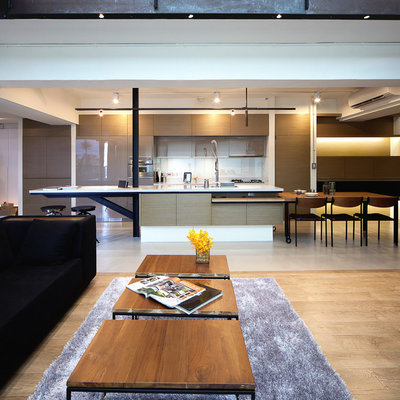 Example of a trendy open concept kitchen design in Other
