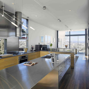 Modern kitchen designs - Example of a minimalist kitchen design in San Francisco with stainless steel countertops and stainless steel appliances