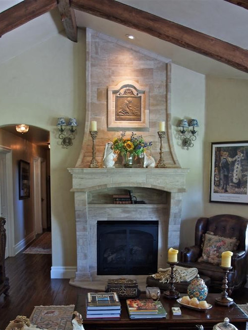 French country fireplace houzz for French country stone fireplace