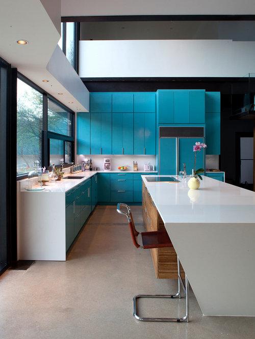 cuisine mur bleu petrole cuisine moderne mur bleu turquoise photos et id es d - Cuisine Mur Bleu Turquoise
