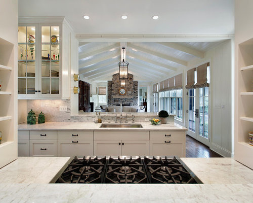 Beautiful Traditional Enclosed Kitchen Idea In Chicago With Glass Front Cabinets And  White Cabinets