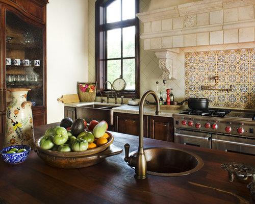 Arbeitsplatte küche fliesen  Küche mit Arbeitsplatte aus Fliesen - Ideen & Bilder