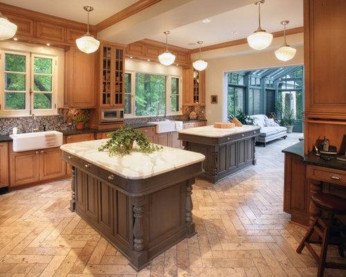 Elegant Kitchen Photo In Milwaukee With Mosaic Tile Backsplash A Farmhouse Sink And Marble Countertops
