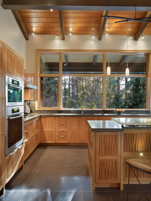 Mid Sized 1950s L Shaped Eat In Kitchen Photo In Seattle With Recessed