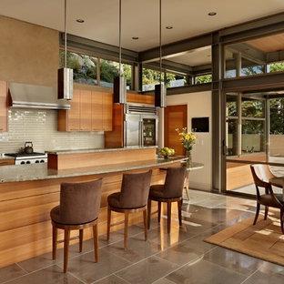 Modelo de cocina comedor minimalista con salpicadero beige, salpicadero de azulejos de vidrio, electrodomésticos de acero inoxidable, armarios con paneles lisos y puertas de armario de madera oscura