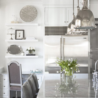 Large contemporary eat-in kitchen ideas - Large trendy u-shaped dark wood floor eat-in kitchen photo in Other with stainless steel appliances, marble countertops, shaker cabinets, white cabinets and an island