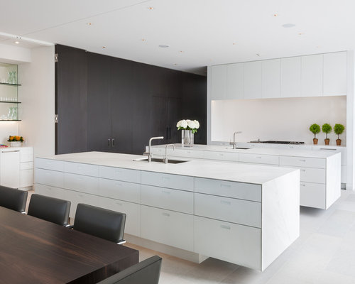 Modern Eat In Kitchen Photos   Inspiration For A Modern White Floor Eat In