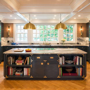 Large traditional eat-in kitchen ideas - Large elegant u-shaped light wood floor eat-in kitchen photo in Minneapolis with a single-bowl sink, raised-panel cabinets, blue cabinets, marble countertops, white backsplash, marble backsplash, paneled appliances and an island