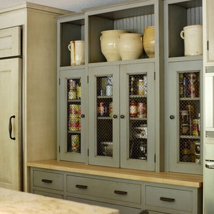 Large french country eat-in kitchen appliance - Eat-in kitchen - large french country l-shaped eat-in kitchen idea in Portland with gray cabinets, an undermount sink, quartz countertops, brown backsplash, mosaic tile backsplash, stainless steel appliances, an island and brown countertops