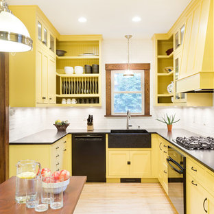 75 Beautiful Kitchen With Yellow Cabinets And Black