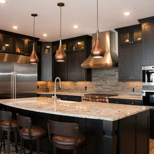 Ex&le of a mid-sized transitional l-shaped porcelain floor and brown floor kitchen & Dark Shaker Cabinet   Houzz