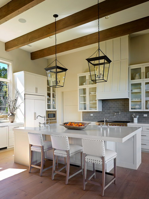 Ex&le of a transitional l-shaped kitchen design in Austin with recessed-panel cabinets & Visual Comfort Lighting | Houzz azcodes.com