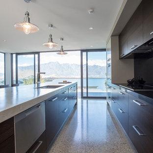 他の地域の広いコンテンポラリースタイルのおしゃれなキッチン (コンクリートの床、ドロップインシンク、フラットパネル扉のキャビネット、濃色木目調キャビネット、コンクリートカウンター、黒いキッチンパネル、ガラス板のキッチンパネル、グレーの床、グレーのキッチンカウンター) の写真