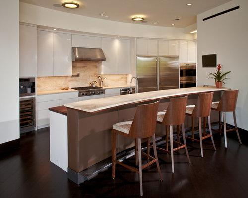 Trendy Kitchen Photo In Houston With Flat Panel Cabinets, White Cabinets,  Beige Backsplash