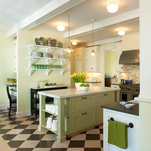 Inspiration for a beach style kitchen in DC Metro with open cabinets and green cabinets.