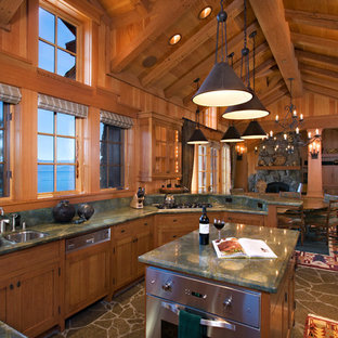 Country open plan kitchen in Sacramento with a double-bowl sink, shaker cabinets, medium wood cabinets and green benchtop.