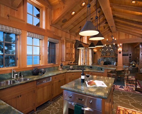 Example Of A Mountain Style Open Concept Kitchen Design In Sacramento With  A Double Bowl