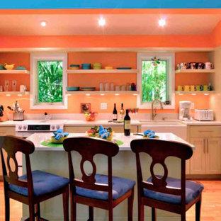 Offene, Zweizeilige, Kleine Tropenstil Küche mit Landhausspüle, Schrankfronten im Shaker-Stil, grünen Schränken, weißen Elektrogeräten, braunem Holzboden und Kücheninsel in Miami