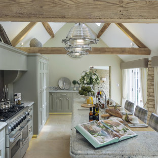 Design ideas for a medium sized rural l-shaped kitchen in Berkshire with shaker cabinets, grey cabinets, an island, beige floors, a submerged sink, stainless steel appliances and grey worktops.