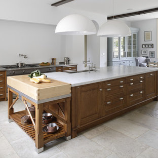 Large kitchen island with marble top