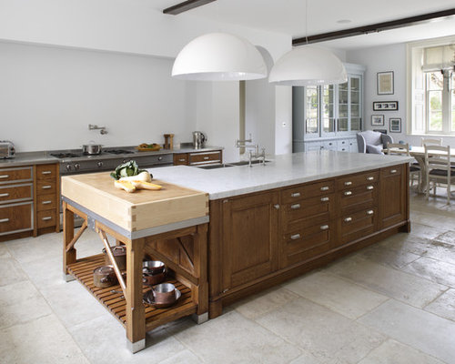 Large Contemporary Galley Limestone Floor Open Concept Kitchen Idea In  Gloucestershire With A Double Bowl