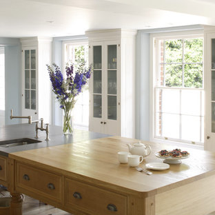 Large kitchen island with oak top