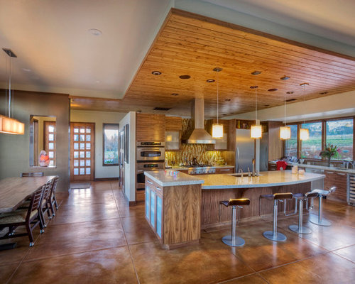 Inspiration For A Contemporary Kitchen Remodel In Other With Multicolored  Backsplash And Brown Floors