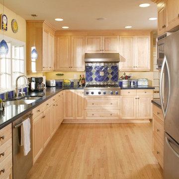 Large Open Kitchen with Diamond Shaped Backsplash