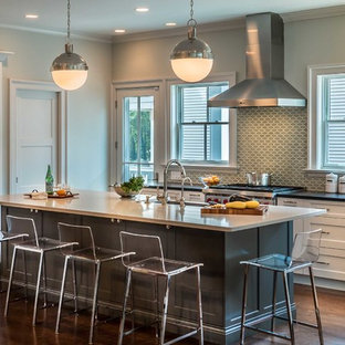 Transitional open concept kitchen inspiration - Example of a transitional l-shaped medium tone wood floor open concept kitchen design in Chicago with shaker cabinets, white cabinets, gray backsplash, an island, a farmhouse sink, cement tile backsplash and stainless steel appliances