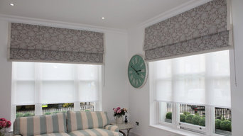 Large Roman Blinds in Windsor with Contrast Trim to 3 edges.