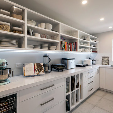 Large Walk-in Scullery with Open Shelves and Sink