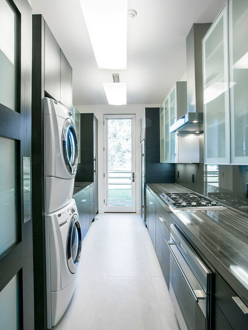 Contemporary Galley Enclosed Kitchen Idea In Salt Lake City With Glass  Sheet Backsplash, Black Cabinets Part 71
