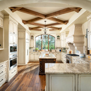 traditional kitchen remodeling elegant u shaped medium tone wood floor and brown floor kitchen - Distressed Kitchen Cabinets